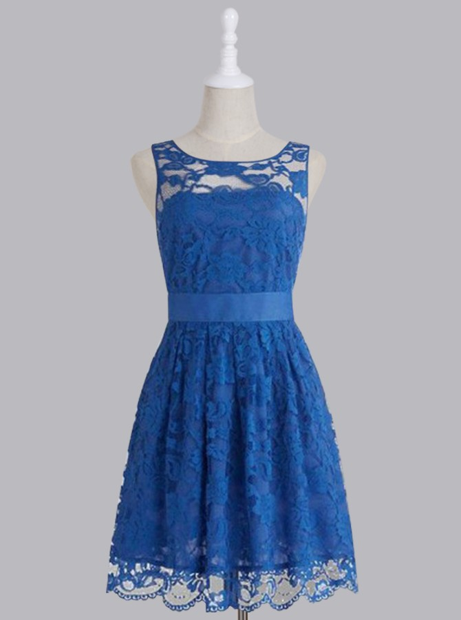 Royal blue bridesmaid dress short bridesmaid dress lace for Royal blue short wedding dresses